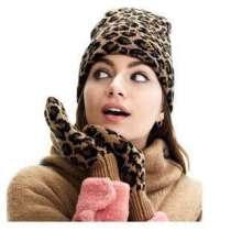 Набор из варежек и шапки с леопардовым принтом, в Сургуте