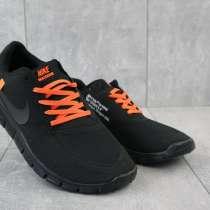 Кроссовки Nike весна-осень, мужские, текстиль, черно-рыжие, в г.Одесса