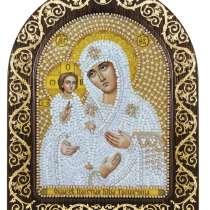Богородица Троеручица. Вышивка бисером. Размер 13.5х17 см, в Челябинске
