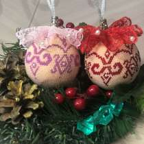 Ёлочные шарики из бисера ручной работы, в Бердске