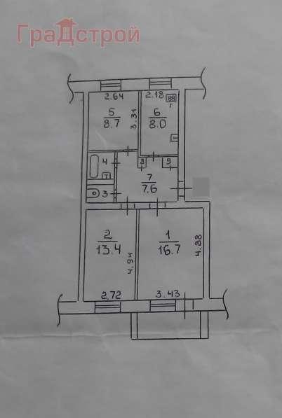Продам трехкомнатную квартиру в Вологда.Жилая площадь 58,70 кв.м.Этаж 3.Дом кирпичный.