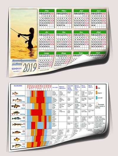 Календарь рыболова 2019