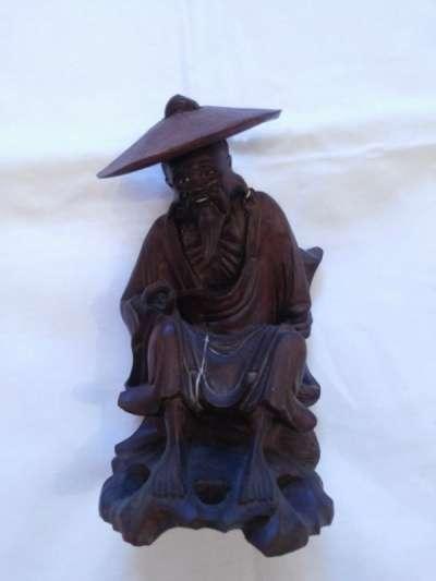 19век статуэтка деревянная Рыбак