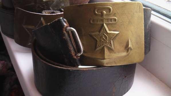Ремень морской черный кожаный СССР
