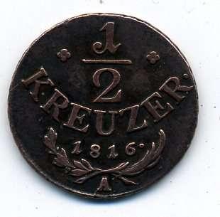 Австро-Венгрия 1/2 крейцера 1816 А в качестве