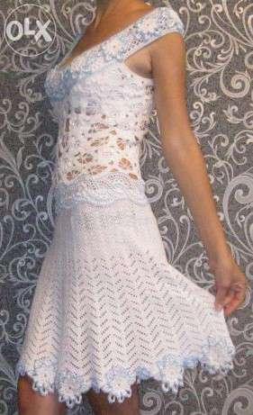 Вязаное белое летнее платье ручной работы