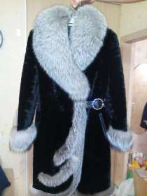 Шуба новая, чёрный мутон, отделка-чернобурка. Размер 44-46, в Красноярске