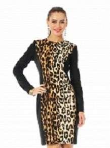 Платье черное с леопардовым принтом, р.44