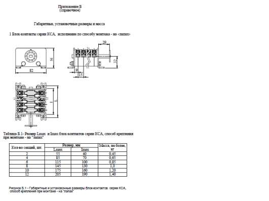 Характеристики блок-контакта КСА-10