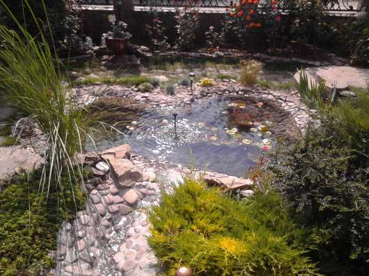 Ландшафтный дизайн, газон, водопад, клумба