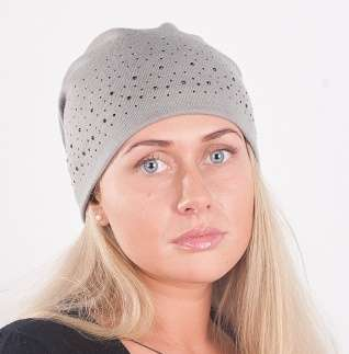Женская трикотажная шапка, серая, мод. 440