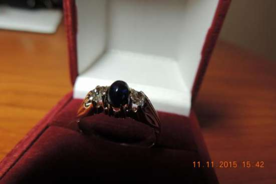 Кольцо 60-х 583 пр.с сапфиром и бриллиантами