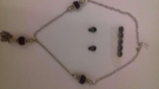 Антиквар серьги (клипсы) и Колье серебряное