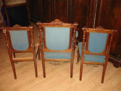 Резные кресло и пара стульев,орех