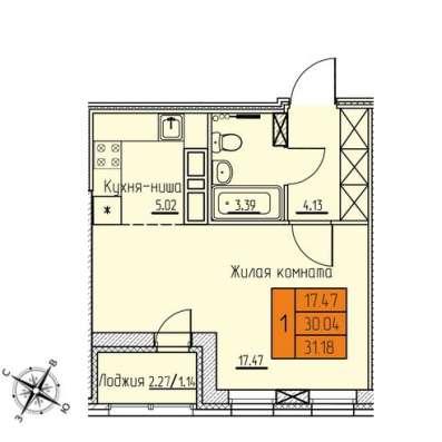 Продам 1-к студию 31м2, 1 594 227 руб Индустриальный район