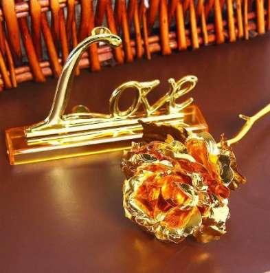 Золотая роза (24 К) для любимой без коробки в Перми Фото 3
